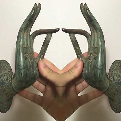 2 large Buddha Pull handle Finger door oxidised green age brass HAND 25cm hook B