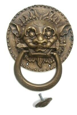 "large Solid foo dragon heavy pure Brass Door Knocker 7"" Chinese dog Head ring B"