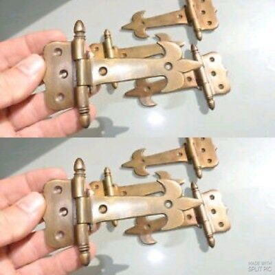 """8 small hinges vintage old age style solid Brass DOOR BOX restoration heavy 5"""" B"""