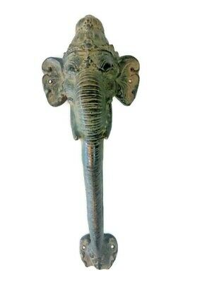 "Ganesha Elephant DOOR PULL HANDLE 13"" antique green brass trunk door 32cm B"