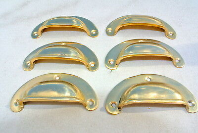 6 shell handles PULL polished Brass PULL knob kitchen cast 8 cm inc screws B