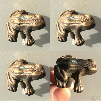 "4 PCS ANTIQUE style small FROG Cabinet Door solid Brass KNOB Drawer Pull 1.1/2""B"