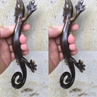 "2 small GECKO DOOR PULLS 21cm aged brass vintage old style house handle 8.1/2"" B"