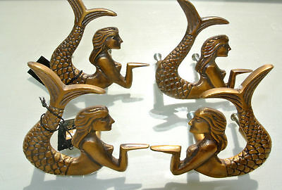 4 cute mermaid handles heavy SOLID BRASS old style bolt house antiques 80mm B