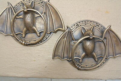 "2 cast heavy Door Knocker BAT ring old heavy front SOLID BRASS old style 7"" B"