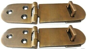 "2 small box catch hasp latch old style solid brass DOOR heavy rectangle 4"" B"