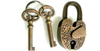 Padlock old Vintage stye engrave solid brass 2 key heavy works hand made 85 mm B