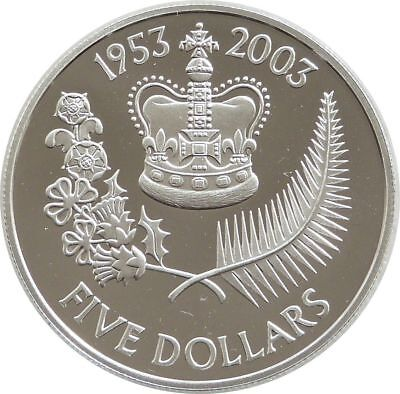 2003 New Zealand Coronation $5 Five Dollar Silver Gold Proof Coin