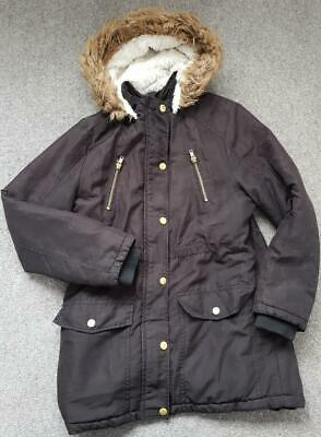 Girls Black Hooded, Fur Lined, Parka Style Winter Coat, 11-12Yrs, 152Cm  George