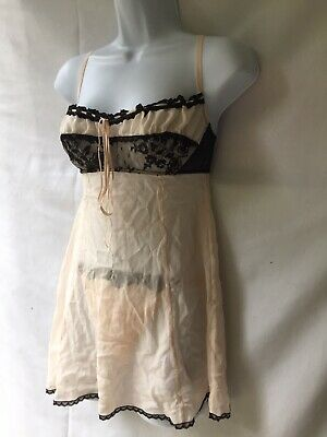 Vintage Victoria's Secret Sexy Blush Pink Black Lace Babydoll Set Thong Size S