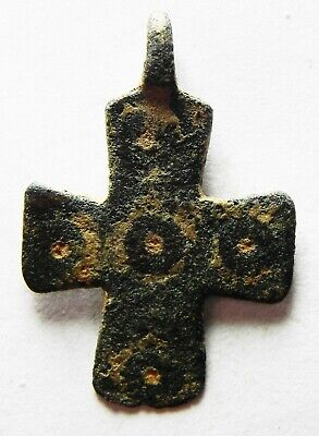 ZURQIEH -as13732- ANCIENT HOLY LAND. BYZANTINE BRONZE CROSS. 800 - 1000 A.D