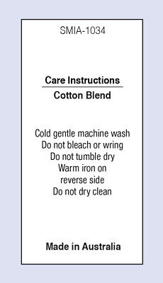 Cotton Blend Sewing Washing Care Label on Soft Satin 5 Pack Sizes