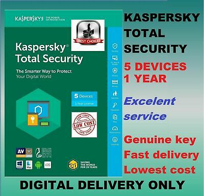Kaspersky Total Security Antivirus 2019 2020 1 Year 5 Users Device PC GLOBAL