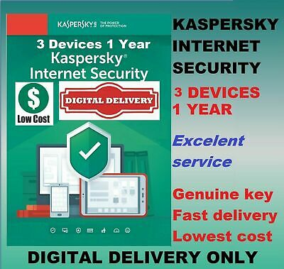 Kaspersky Internet Security Antivirus 2019 2020 3 Users Device PC 1 Year GLOBAL