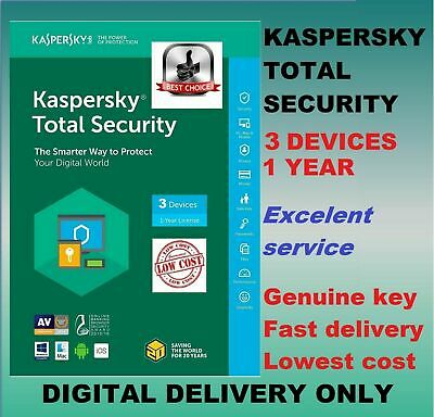 Kaspersky Total Security Antivirus 2019 2020 3 Users Device PC 1 Year GLOBAL