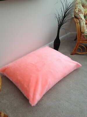 Beanbag floor cushion filled blush pink faux fur large 3cf size new