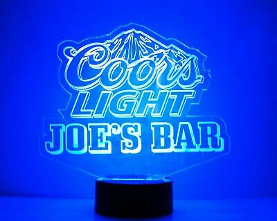 Personalized Coors Light Beer Logo Bar Sign Mancave LED Remote Control