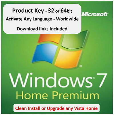 Win 7 Home Premium Product Key - 32 or 64bit + Download - Use on any PC