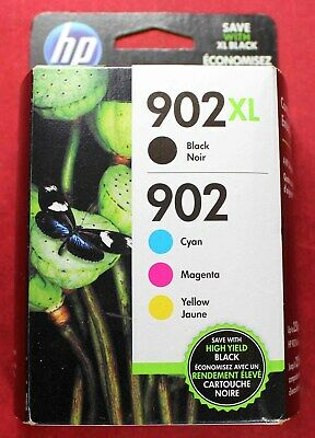 Genuine HP 902XL Black & 902 Cyan Magenta & Yellow Ink Cartridges - Feb 2020