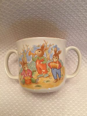 Mount Clemens Pottery Rabbit Playing Instruments w Balloons Double Handled Mug
