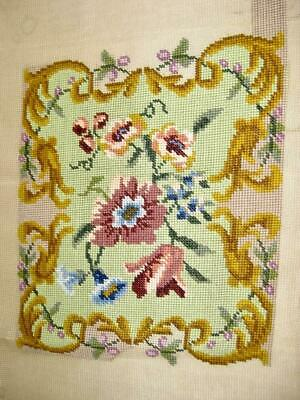 Worked needlepoint for making up   Cushion or kneeler   Pale green   Tapestry
