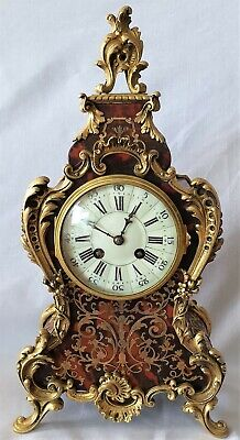 Antique Boulle Clock Samuel Marti Paris 1900 Red Shell Single Bell Strike