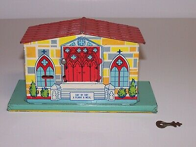 Square Trap 1930s Chein Church Brightly Lithographed Tin Bank w/Key Rare
