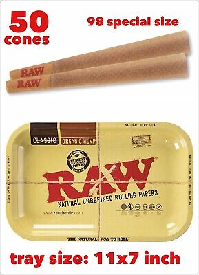 RAW Classic 98 special Size Cones (50 Pack)+raw metal rolling tray 11x7 inch