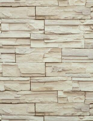 Removable Water-Activated Wallpaper Travertine Sandstone Stripes Turquoise