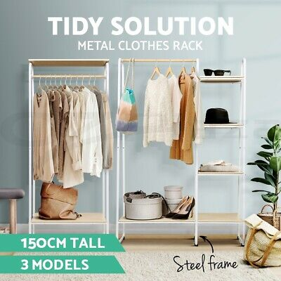Closet Storage Rack Clothes Hanger Shelf Garment Rail Stand Wardrobe Organiser