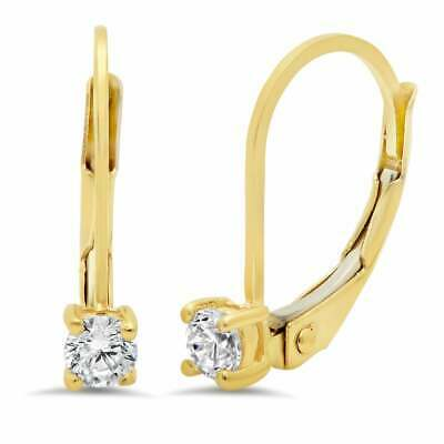 1 Ct Brilliant Round Diamond Lever back Drop Dangle Earrings 14K Yellow Gold FN
