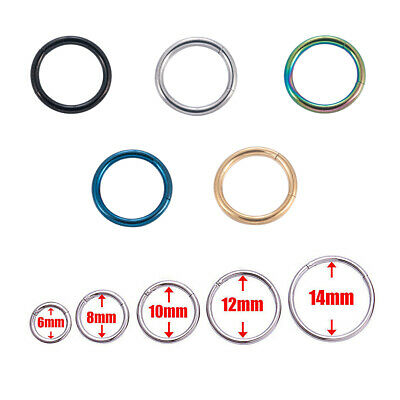 Hinged Septum Clicker Segment Lip Nose Ring Ear Cartilage Stainless Hoop Ring