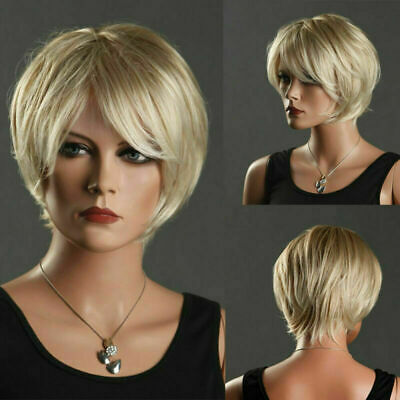 Short Straight Wigs Pixie Heat Resistant Natural Synthetic Hair Party Cosplay AU