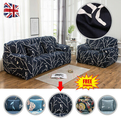1/2/3 Seater Floral Elastic Sofa Covers Slipcover Settee Stretch Couch Protector