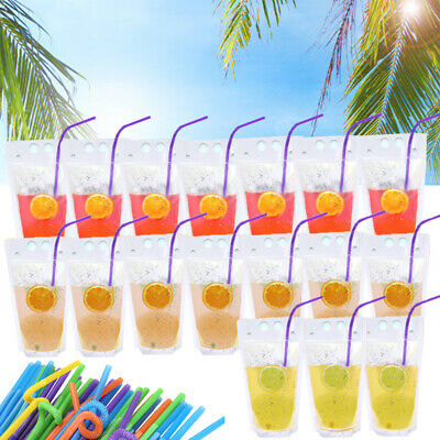 100PCS (Drink Pouches Bags + Straws ) Clear Stand-Up Reclosable Zipper Pouches