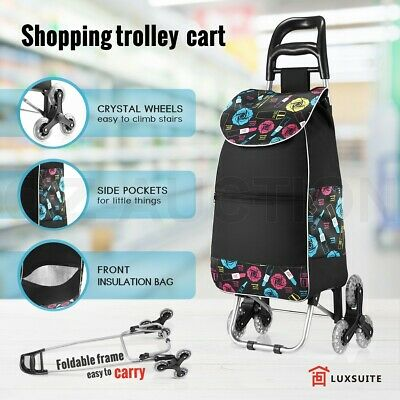 Foldable Shopping Trolley Carts Market Grocery Luggage Basket Bags Wheel Cart