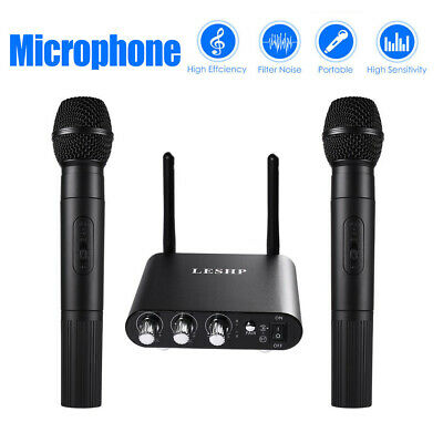 Professional UHF Wireless 10 Channel 2 Microphone Handheld Mic Bluetooth System