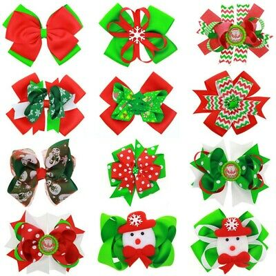 Big Cute Christmas Ribbon Hair Clips Hair bow Xmas Gifts For Baby Girl 15x12cm