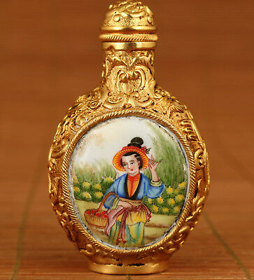 Antique Chinese Old Cloisonne Plating Gold Painting Girl Statue Snuff Bottle