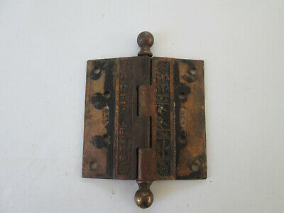 Antique Hardware Ornate Brass Door Hinge Floral Design Eastlake Ball Top 4065