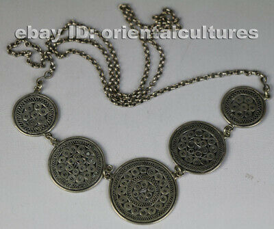 Tribal exotic chinese handmade filligree miao silver necklace