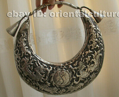 Vintage Exotic Chinese Handmade Miao Silver double dragon playing ball Necklace
