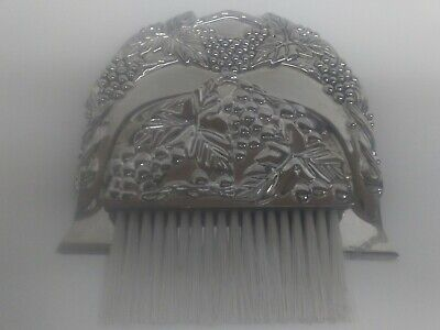 "Vintage Set Metal Crumb Catcher Silent Butler and Matching Brush 5 3/8"" x4 3/4"""