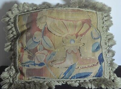 Authentic Antique FRENCH TAPESTRY PILLOW Cover UU892