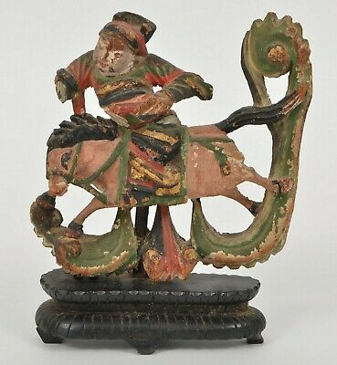 Antique Chinese Carved Wood Polychrome Man On Horse Sculpture Bin
