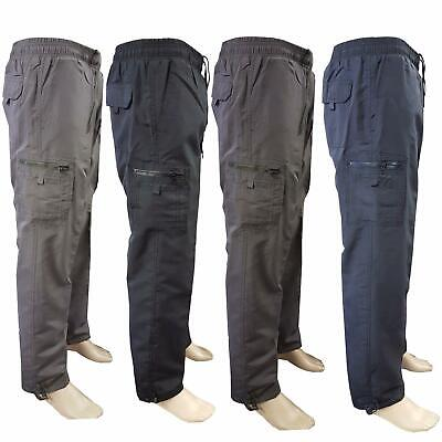 Mens Thermal Fleece Lined Elasticated Cargo Combat Work Walking Trousers Pants