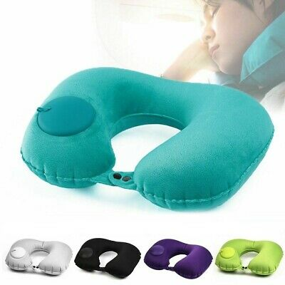 Travel Pillow Foldable Inflatable U-shaped Neck Support Car Airplane Air Cushion