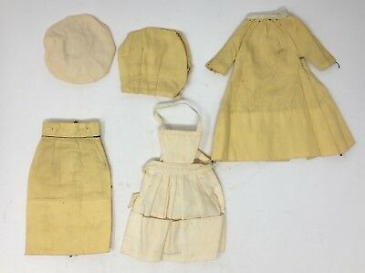 Vintage Barbie Five Piece Yellow Outfit Top Skirt Coat Hat & Apron Fits Doll