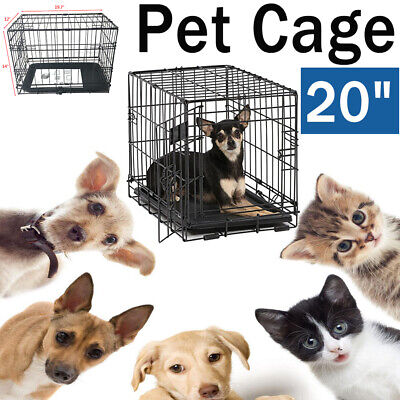 """20"""" Small Pet Cat Dog Kennel Cage Folding Crate Animal Relax Sleep House Black"""