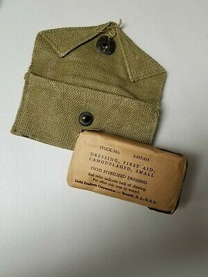 Us Gi Wwii First Aid Bandage With Pouch.